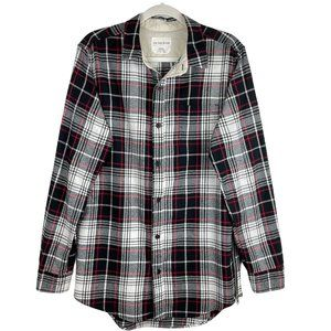 On They Byas Black Red Plaid Flannel Shirt Size M